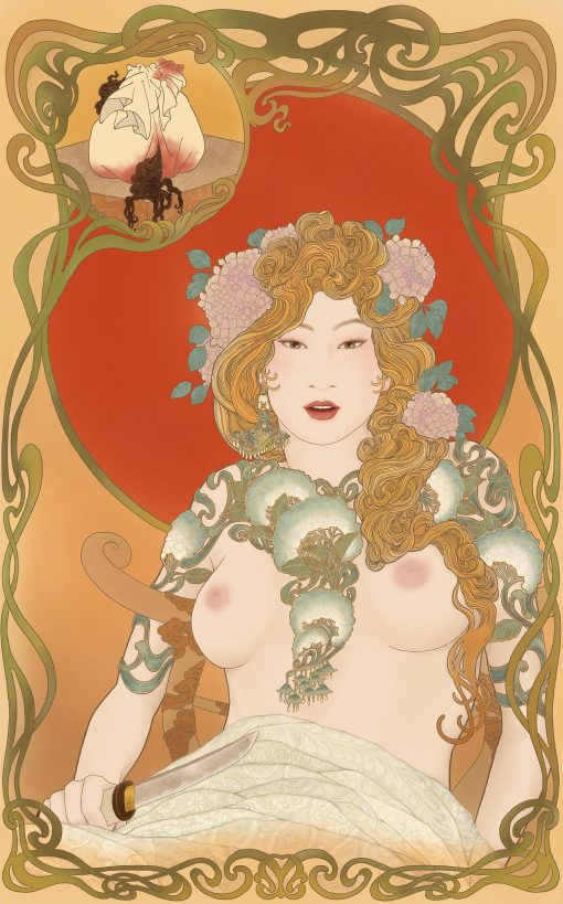 A sensual and erotic painting by Senju in a shunga and Art Nouveau mixed style. An homage to the art of Alphonse Mucha.