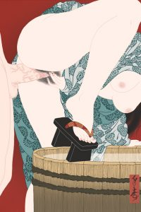 A highly erotic shunga bathing scene painted by Senju.