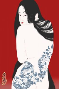 Sensual and erotic female nude portrait in Ukiyo-e style by Senju shunga.