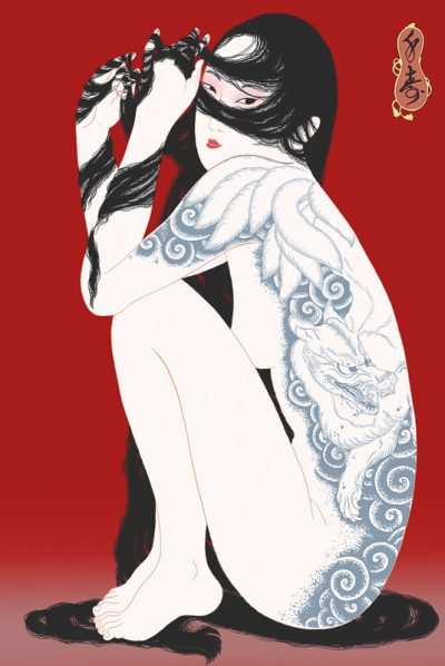 Sensual female nude portrait of a fox that has assumed human form. She is tattooed in Japanese style. Shunga by Semju