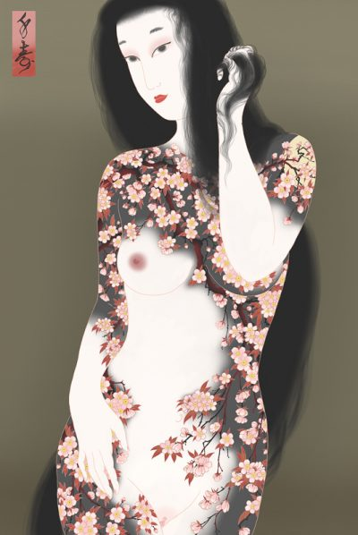 Female nude portrait of woman tattooed with cherry blossoms. erotic Shunga painting by Senju