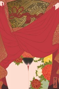 a beautiful woman reveals ger Japanese style peony tattoos in this eroticc shunga painting by Senju