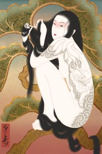 a japanese fox spirit in its assumed female form adorned in full body irezumi tattoos. Shunga painting by Senju.