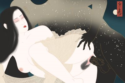 heavenly bodies collide in an erotic tableux by Swedish painter Senju.