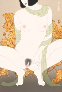 Female nude sensual portrait Shunga painting by Senju