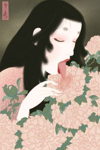 a beautifule Japanese woman of the Heian period using her tounge to give pleasure to a vulva shaped sensual peony flower