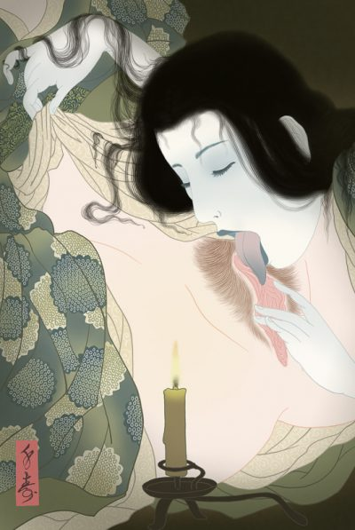 Erotic and very sensual painting of a Japanese female ghost having lesbian sex with a sleeping woman. Art by Senju.
