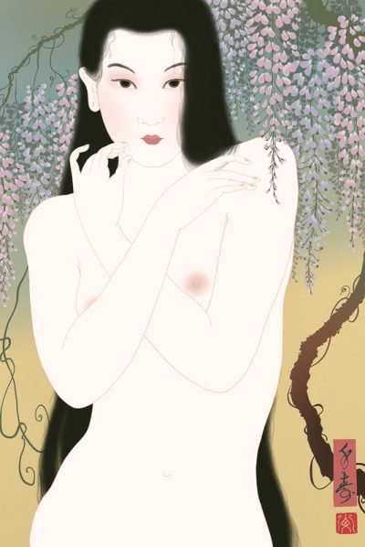 A portrait of a beautiful Japanese female nude woman. By Senju.