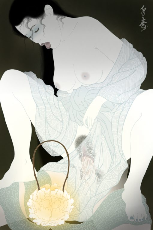 the peony lantern japanese ghost story. An erotic shunga painting by Senju