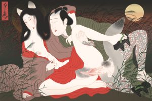 woman in kitsune japanese fox shape seducing a tattooed man
