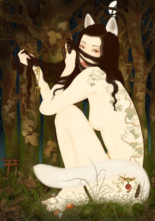 A painting by Swedish artist Senju showing a mythical Japanese fox, Kitsune, that has transformed itself into a the shape of a beautiful woman.