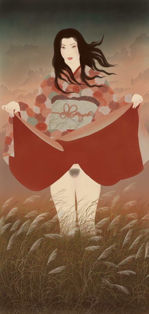 A tribute to Hokusai. A young woman holds up her kimono and reveals the peak of Mount Fuji. A sensual and erotic painting inspired by Japanese Shunga.
